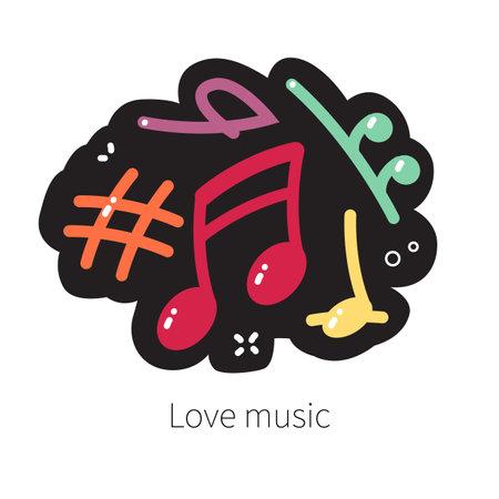 Vector cartoon music note icon. Multicolour musical notes