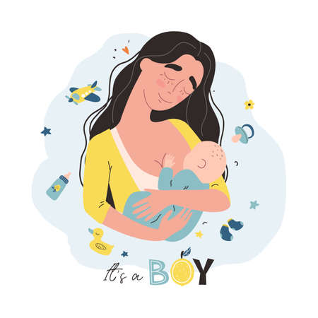 Young mother holding her little baby. Vector illustration with cute characters. It is a boy design concept.