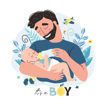 Happy father holding his little baby. Vector illustration with cute characters. It is a boy design concept.