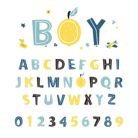 ABC. Alphabet. Clipart, isolated vector letters. Hand drawn bold cut out color font. Letters set. 免版税图像 - 163258965