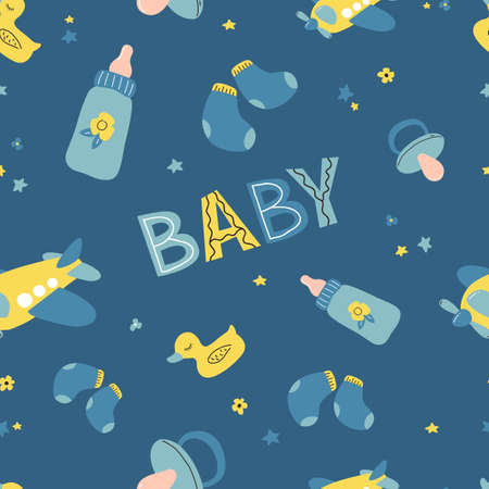 Seamless pattern Nursery baby boy. Icons of baby items.