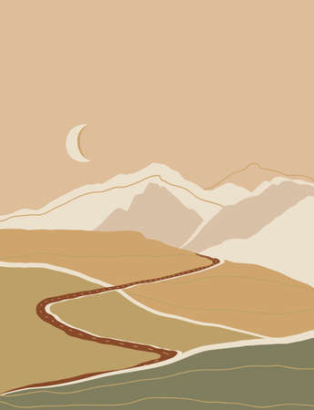 Abstract contemporary landscape poster, mountains poster with road, Boho print, Mustard color art