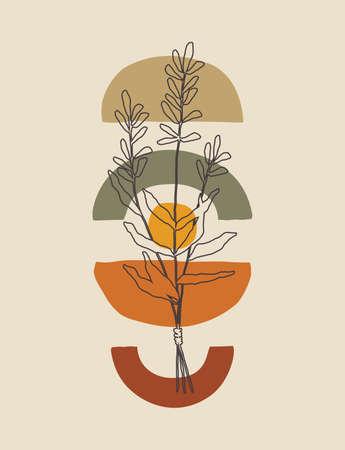 Minimalist one line art plant poster