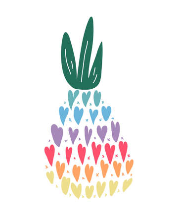 Pineapple silhouette icon. Vector colored illustration of fruit Иллюстрация