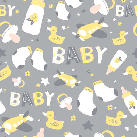Colorful baby seamless pattern. Icons of baby items.