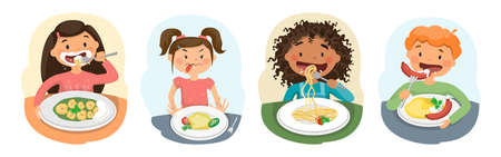 kids child girl and boy eating healthy food
