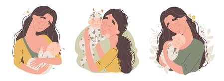 Young happy mother hugs her newborn baby