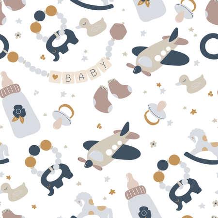 Boho newborn baby boy seamless pattern. Icons of baby items.