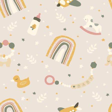 Boho newborn baby seamless pattern. Icons of baby items.