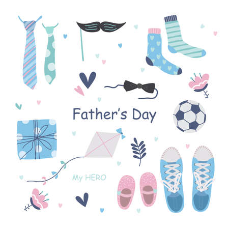 Fathers day vector illustration set in modern style