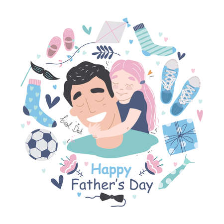 Happy Fathers Day greeting card Иллюстрация