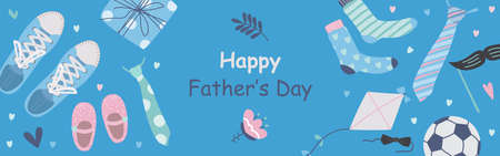Fathers day vector illustration set in modern style Иллюстрация