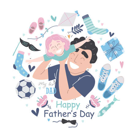Happy Fathers Day greeting card. Young Father hugging his toddler daughter at home. Father and daughter together. Fathers day vector illustration set in modern style