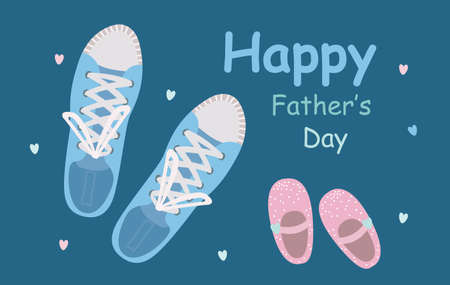 Fathers Day poster or banner template with dads sneakers and little shoes for daughters on blue background. Vector promotional template. Иллюстрация