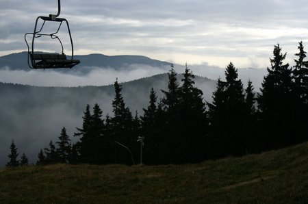 smother: Clear view on seat chair lift in Harrachov, Giant Mountains, Czech Republic