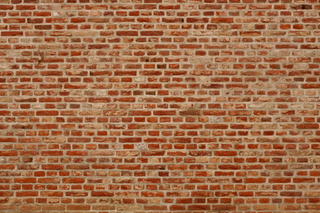 RED WALLPAPER: Brick wall horizontal background with red, orange and brown bricks