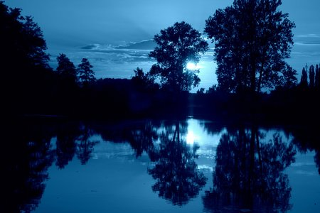 bayou: Blue moody view on bayou river during late night after sunset