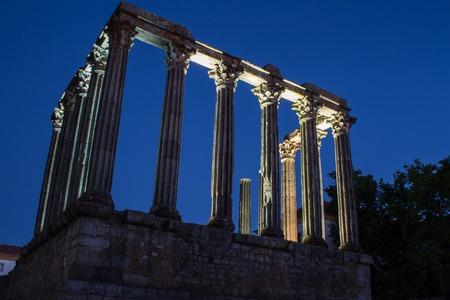 Templo Romano, roman temple during the night. Antique Roman building found in Evora, Portugal. Blue hour photo.