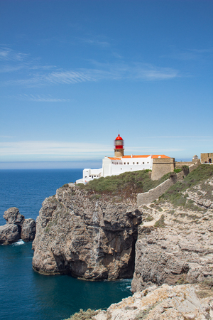 Cabo de Sao Vincente lighthouse - most south-western point of Eu Stock Photo