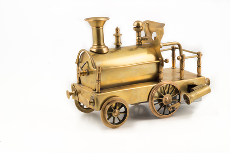 Old golden steam locomotive toy