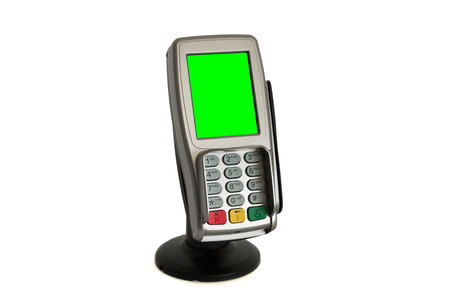 Paying with redit card terminal Foto de archivo