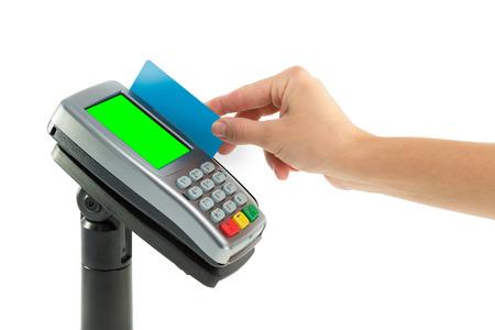 tarjeta de credito: Pagar con tarjeta de terminales REDIT Foto de archivo