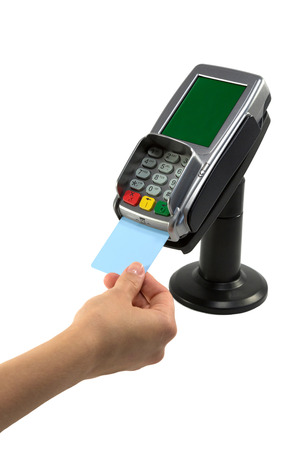 credit card payment: Paying with redit card terminal Stock Photo