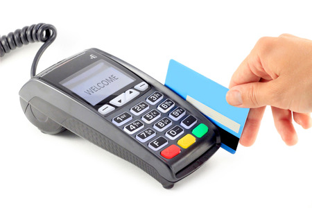 Paying with redit card terminal Banque d'images