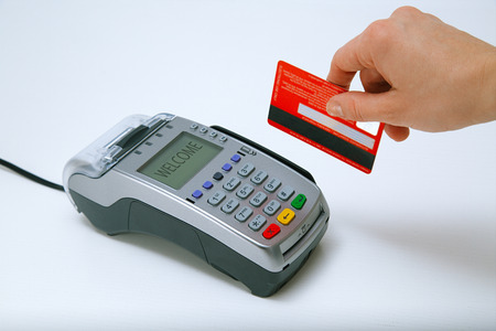 Paying with credit card terminal Banque d'images