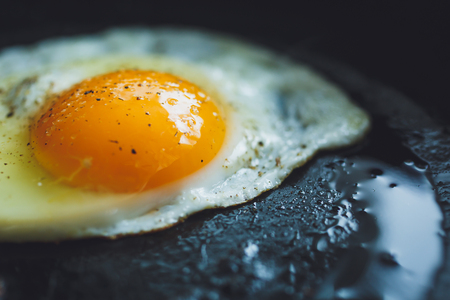 cooked pepper ball: fried egg on the pan, close-up shot