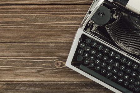 qwerty: Vintage type writing machine. View from above