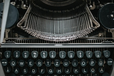 Vintage type writing machine. View from above