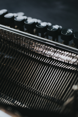 typewrite: Melal detail of old series typewriter machine