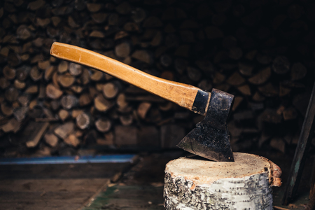 Axe for chopping firewood in the barn