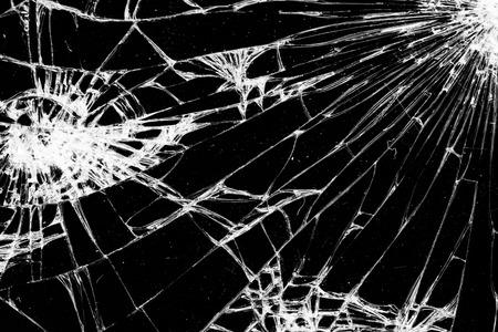 cracked glass on black background