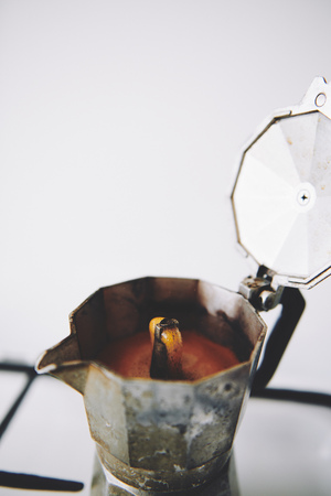 Fresh hot offee prepared in moka coffee maker Stok Fotoğraf
