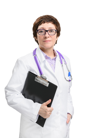 Adult experienced woman doctor with stethoscope and folder. Isolated on white background.