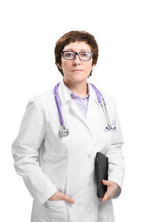 Adult experienced woman doctor with stethoscope and folder look at camera. Isolated on white background.