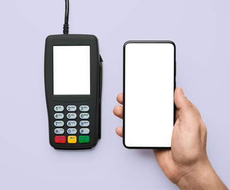 Contactless payment for paying by smartphone with nfc technology. Terminal and phone with template screen