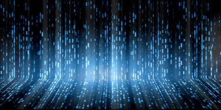 Abstraktes futuristisches digitales Technologiekonzept der binären Datenwissenschaft. Standard-Bild