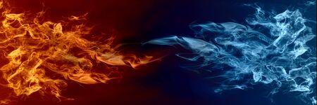 Elemento abstracto de fuego y hielo uno contra el otro