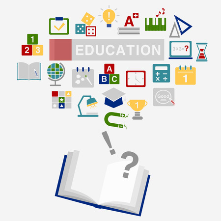 education icons with book