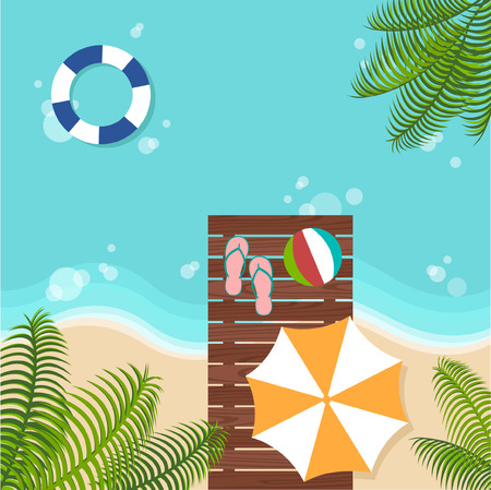 mew: background of summer beach with beach parasol