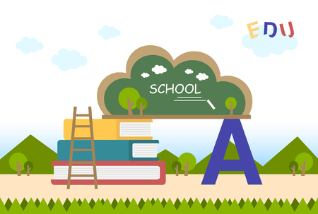 education flat background with blackboard and books