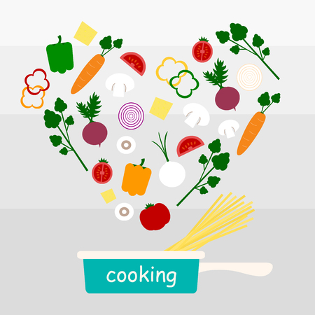 cooking utensils: cooking vegetable and spaghetti