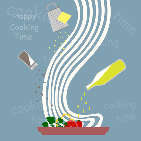 cooking time: happy cooking time Illustration