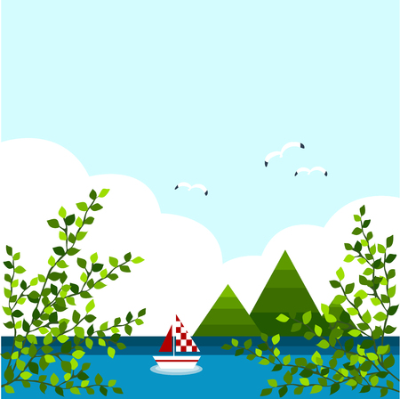 mew: background of sea and sky in summer Illustration
