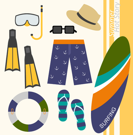 webbed: background of summer beach wear icons for men