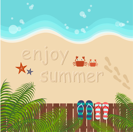 footprint sand: background of summer beach with couple flip flops Illustration
