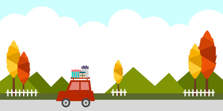 flat background-mountain, tree, car